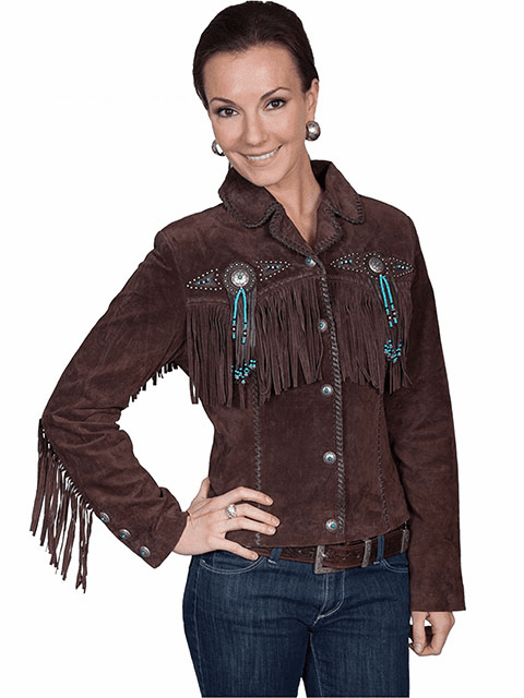 Scully Ladies  Boar Suede Fringe & Beaded Jacket
