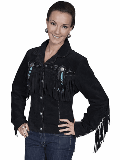 Scully Ladies Boar Suede Fringe & Beaded Jacket Black