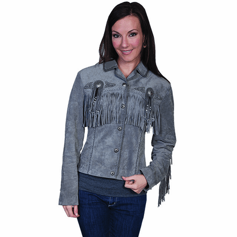 Scully Ladies Boar Suede Fringe & Beaded Jacket Grey