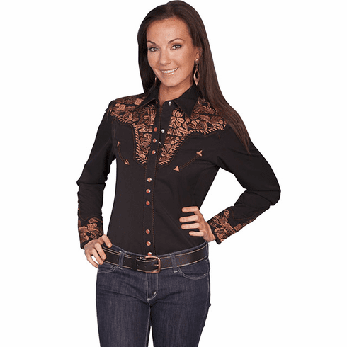 Scully Ladies Long Sleeve Shirt w/Floral Tooled Embroidery Black