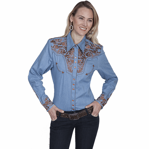 Scully Ladies Long Sleeve Shirt w/Floral Tooled Embroidery - Blue*