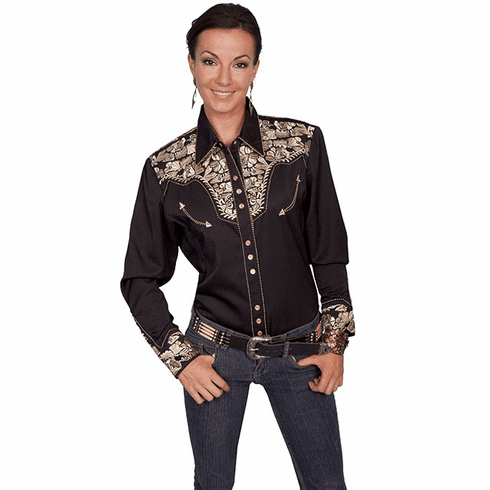 Scully Ladies Long Sleeve Shirt w/Floral Tooled Embroidery Gold