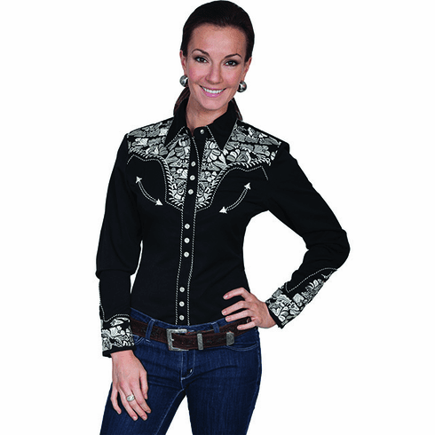 Scully Ladies Long Sleeve Shirt w/Floral Tooled Embroidery - Silver *