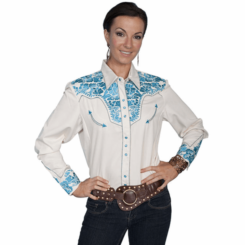 Scully Ladies Long Sleeve Shirt w/Floral Tooled Embroidery - Turquoise**
