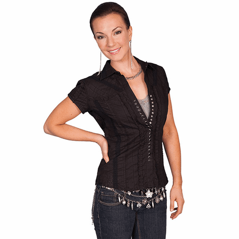 Scully® Ladies' Short Sleeve Shirt w/Lace and Pearl Snaps - Black