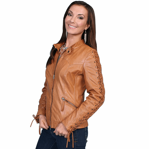Scully Lamb Leather Laced Sleeve Jacket