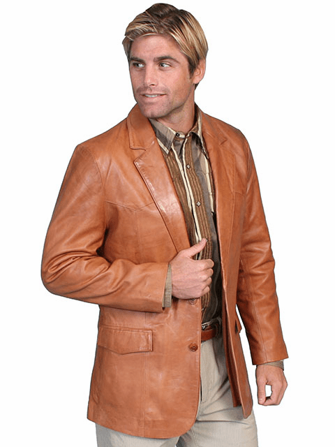 Scully Lambskin Blazer Tan