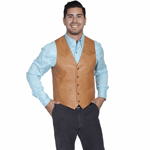 Scully Lambskin Button Front Vest Ranch Tan