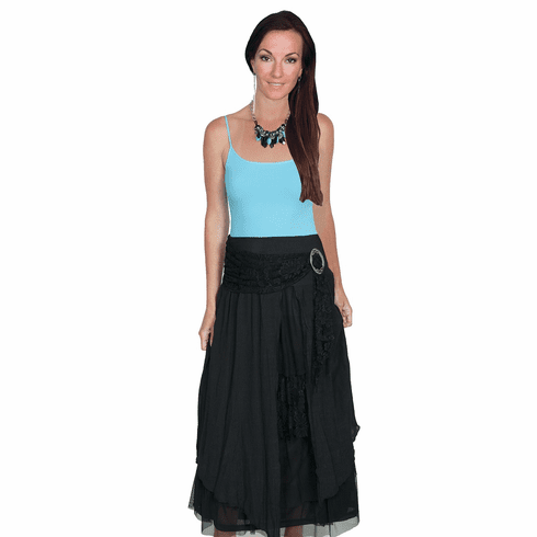 Scully Layered Long Skirt Black