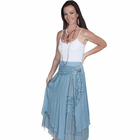 Scully Layered Long Skirt Blue