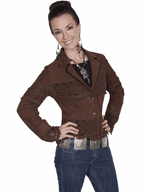 Scully Leather and Lace Jacket Brown