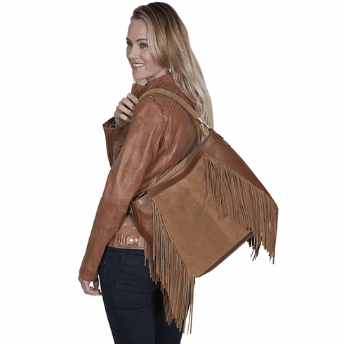 Scully Leather and Suede Fringe Purse Brown