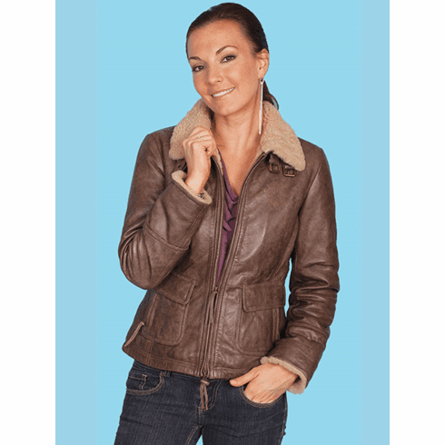 Scully Leather Bomber Jacket Brown