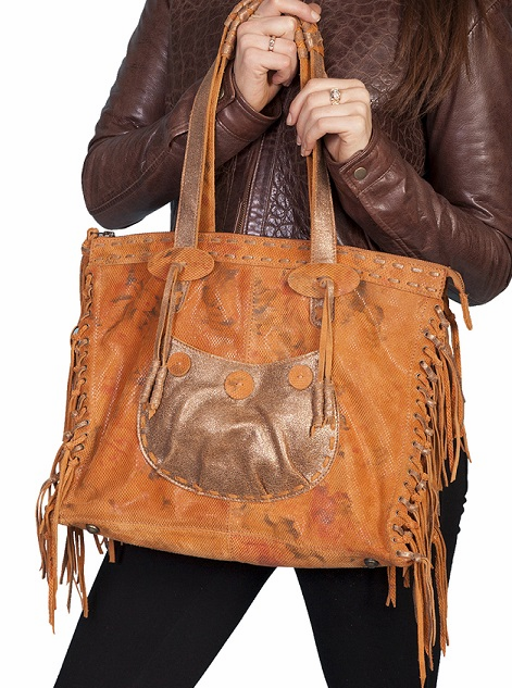 Scully Leather Fringe Handbag Sunset