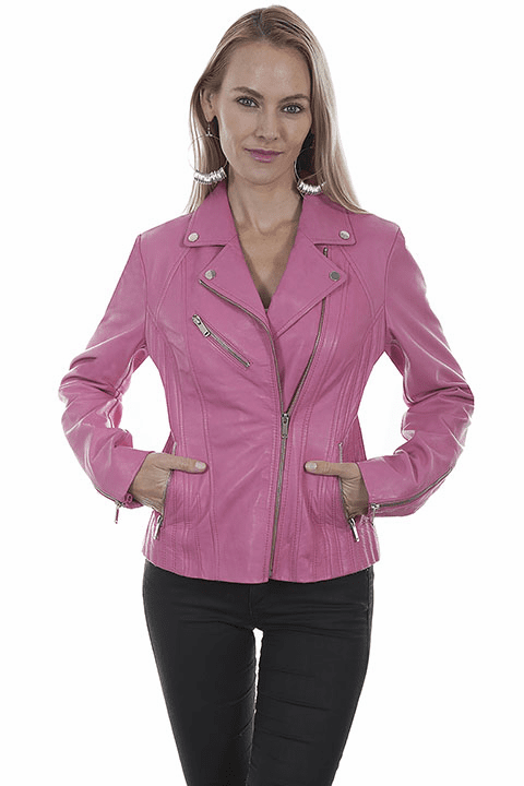 Scully Leather Motorcycle Jacket Pink