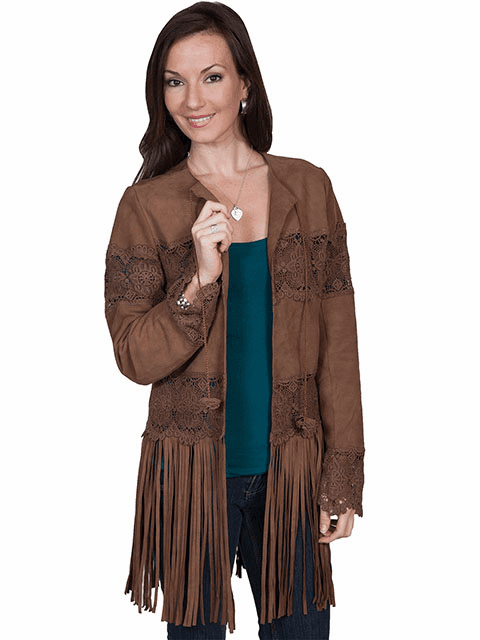Scully Long Fringe Suede Jacket Brown