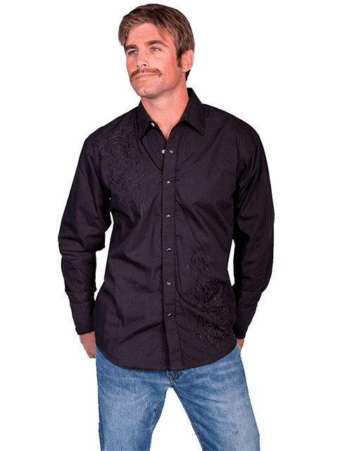Scully Long Sleeve Shirt Tonal Front Embroidery - Black