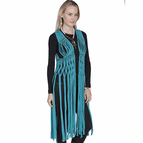 Scully Macrame Fringe Vest Teal