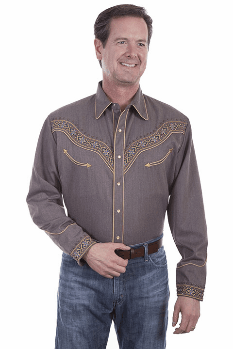 Scully Men's Embroidered Decorative Colorful Band Western Shirt - Heather Brown