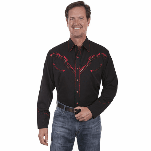 Scully Men's Embroidered Thunderbird Western Shirt