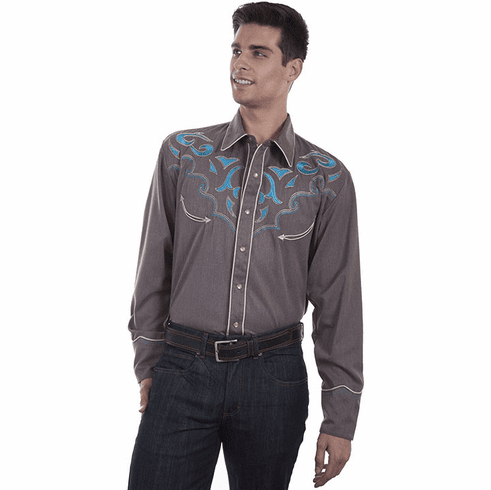 Scully Men's Embroidered Turquoise Abstract Designs Western Shirt - Heather Brown