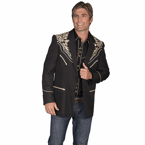 Scully Men's Floral  Embroidered Blazer - Black/Gold