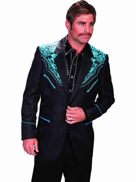 Scully Men's Floral Embroidered Blazer - Black/Tur