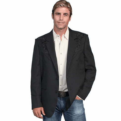 Scully Men's Floral Tonal Embroidered Blazer - Black