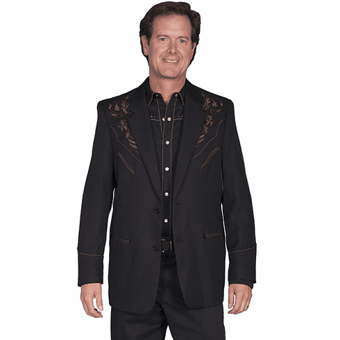 Scully Men's Floral Tonal Embroidered Blazer Black/Brown