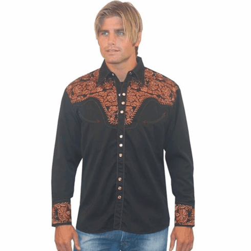 Scully Men's Long Sleeve Shirt w/Floral Tooled Embroidery - Black