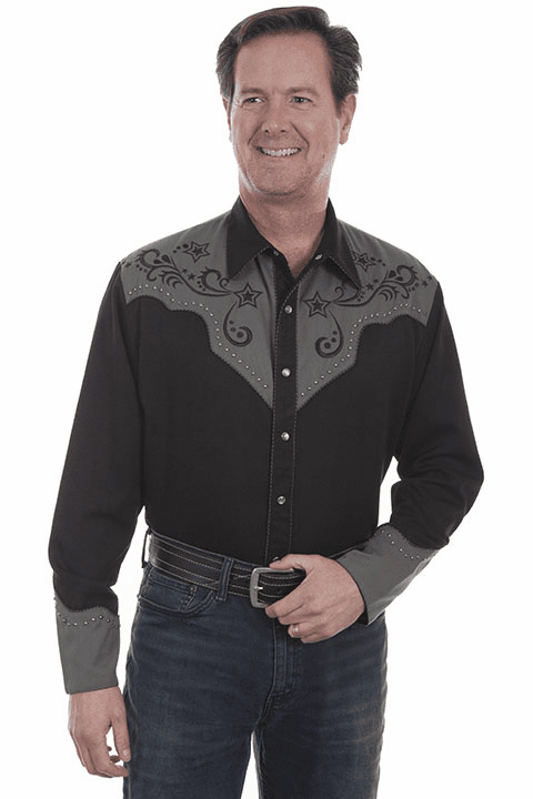 Scully Men's Star and scroll embroidery Western Shirt