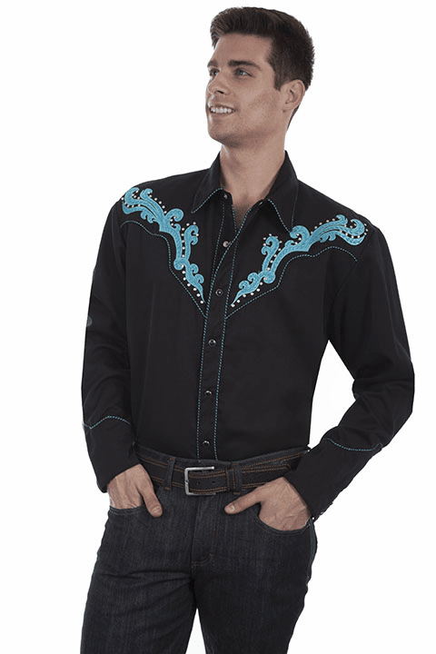 Scully Men's Western Design Shirt with Studs Black/TQ