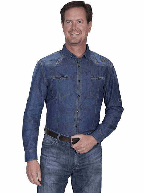 Scully Men's Western Jean Shirt