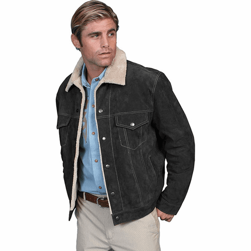 Scully Mens Boar Suede Leather Jean Jacket Style - Black