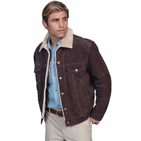 Scully Mens Boar Suede Leather Jean Jacket Style Chocolate