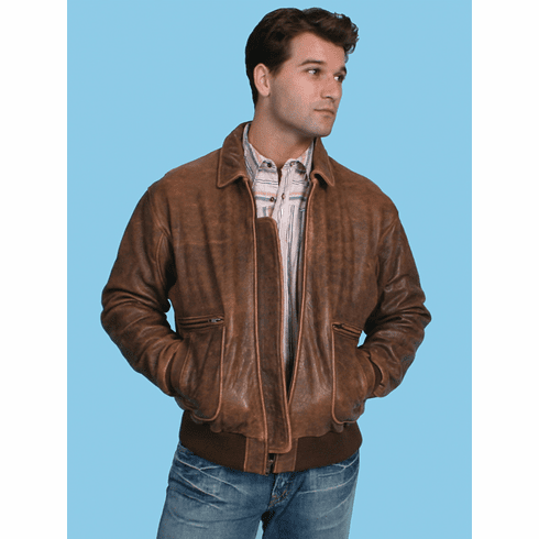 Scully Mens Brown Distressed Lambskin Leather Bomber Jacket