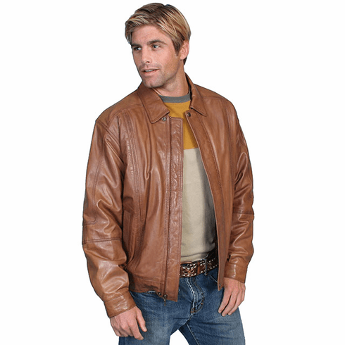 Scully Mens Lambskin Leather Bomber Jacket Cognac