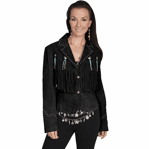 Scully Outlaw Cowgirl Fringe Jacket Black
