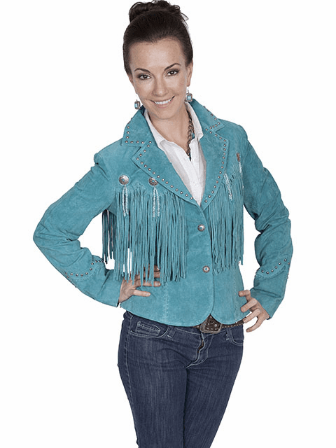Scully Outlaw Cowgirl Fringe Jacket - Turquoise