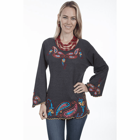 Scully Paisley Tunic CHARCOAL S-XL