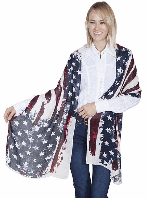 Scully Patriot Flag Wrap/Scarf O/S