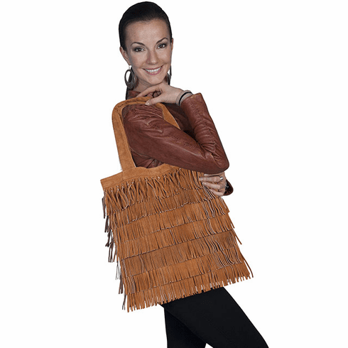 Scully Payson Suede Fringe Handbag Brown