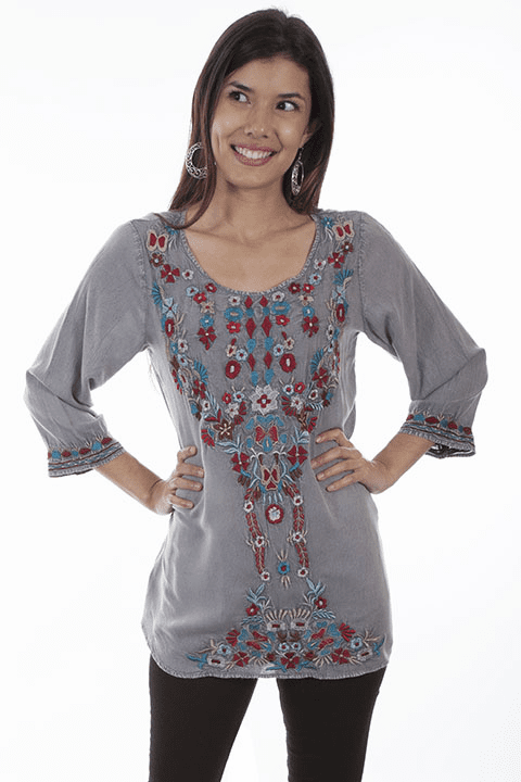 Scully Pullover Blouse Grey