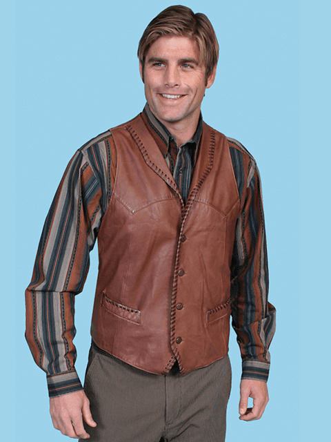 Scully Ranch Calf Skin Leather Western Vest