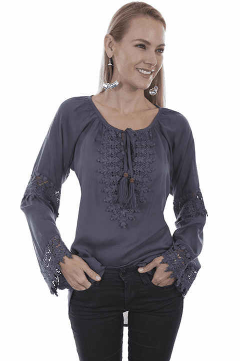 Scully Rancher Crochet Blouse WEDGEWOOD BLUE