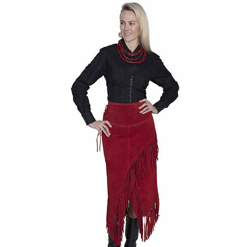 Scully Red Boar Leather Wrap Skirt