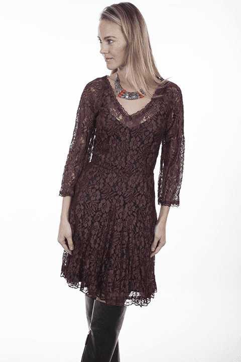 Scully Red Velvet Lace Dress