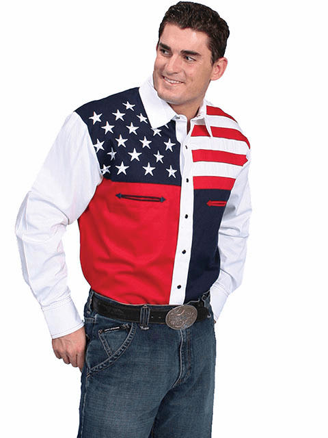 Scully Red White & Blue Color Block Shirt