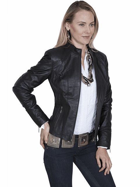 Scully Ribbed Leather Jacket Black