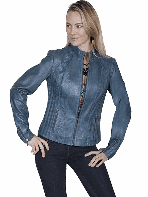 Scully Ribbed Leather Jacket Blue